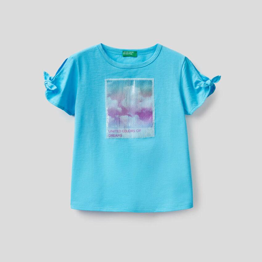 T-Shirt mit Einsatz samt Pailletten