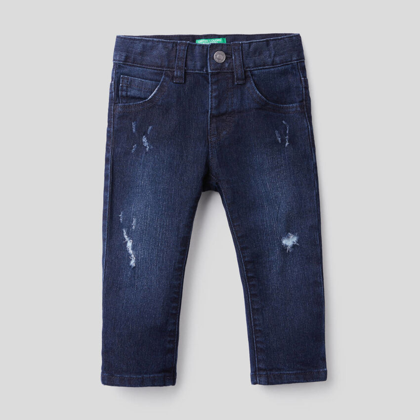 Worn look jeans in stretch cotton