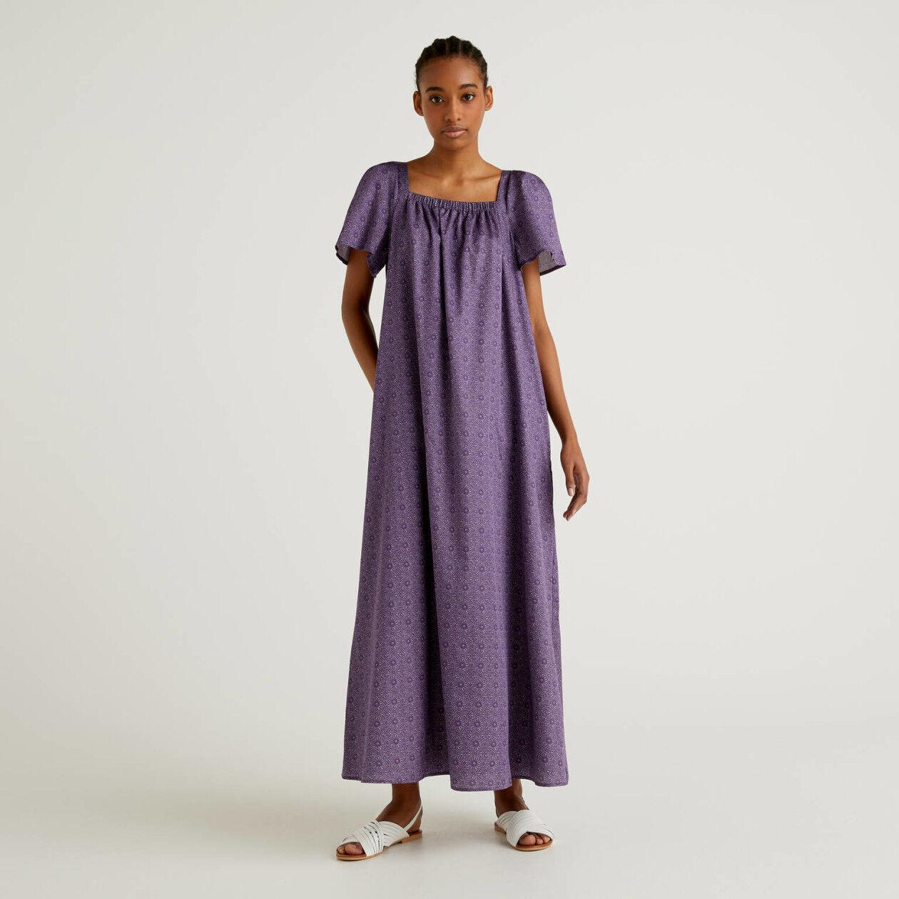 Langes Kleid aus Baumwolle mit Print