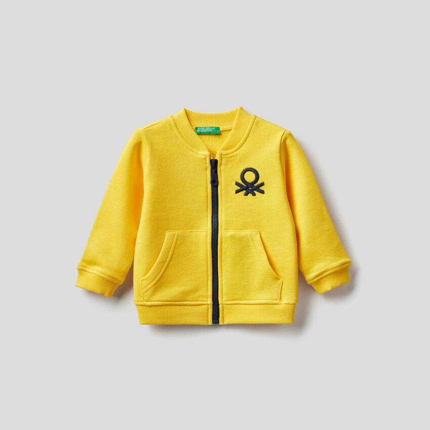Sweatshirt aus 100% Baumwolle mit Reißverschluss