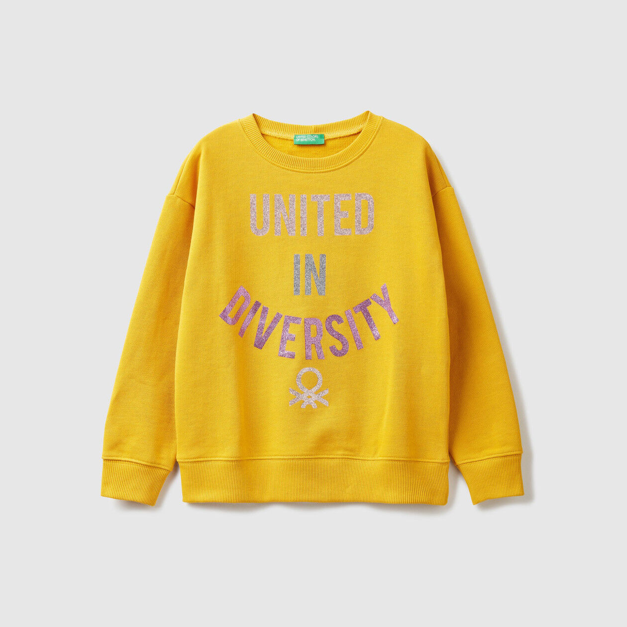 Crew neck sweatshirt with glittery print