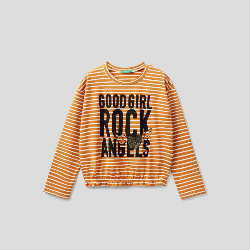 Cropped-T-Shirt mit Streifen