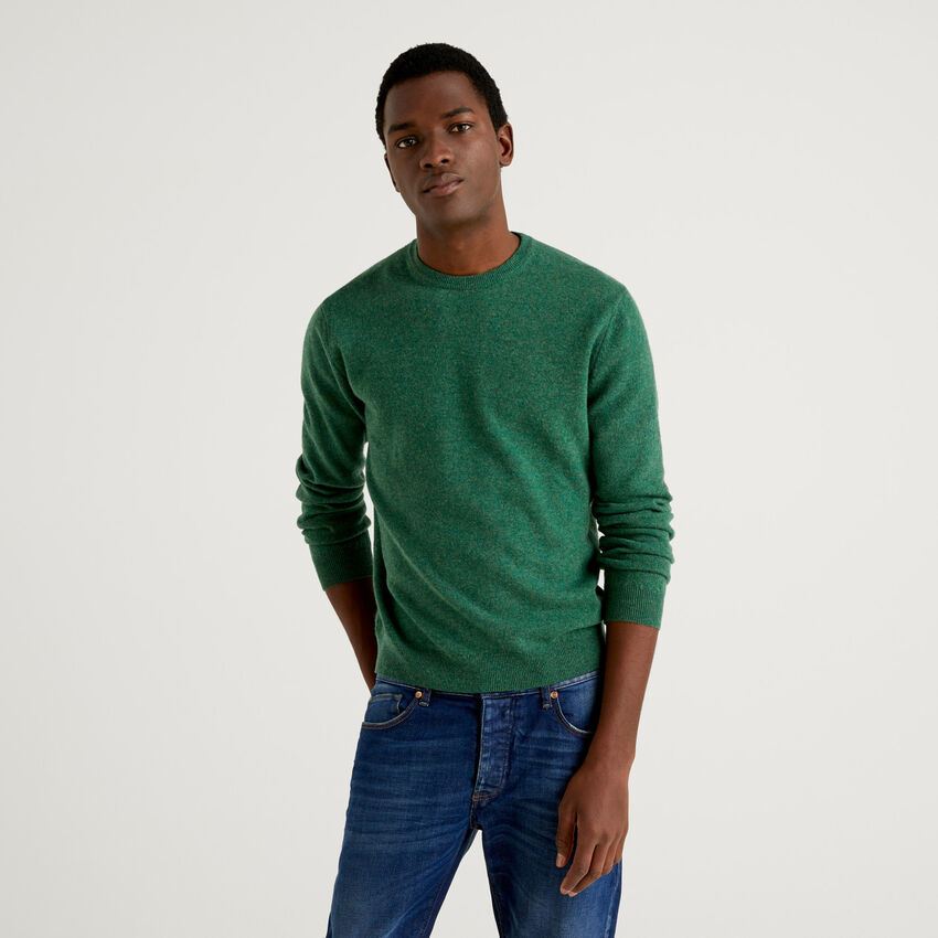Pull vert col rond en pure laine vierge