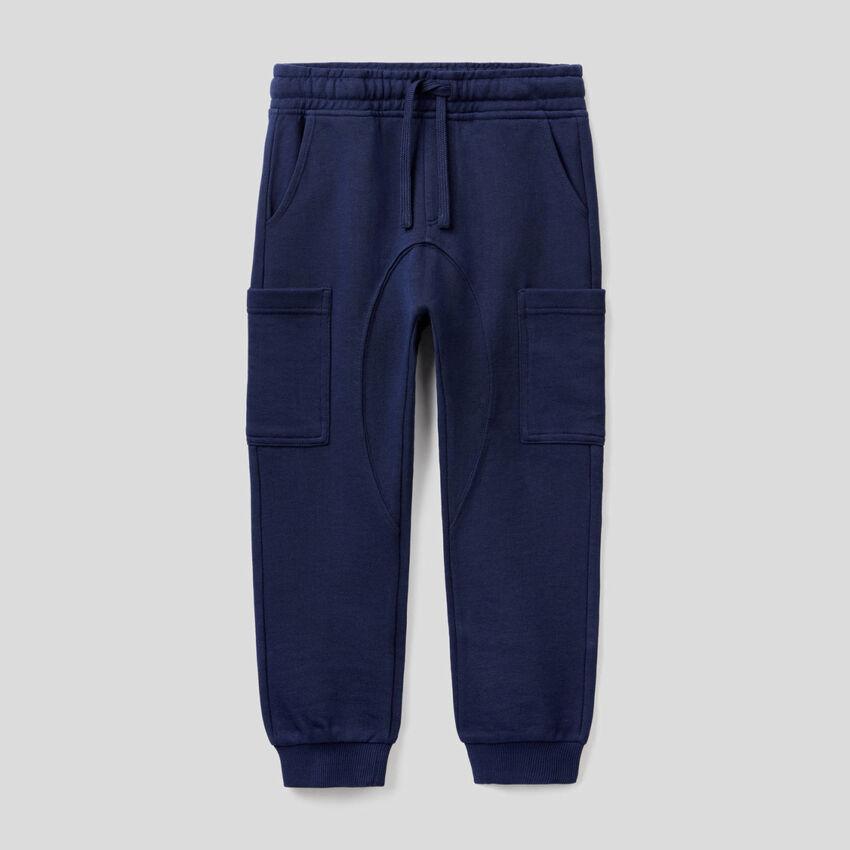 Pantalon cargo en molleton de pur coton