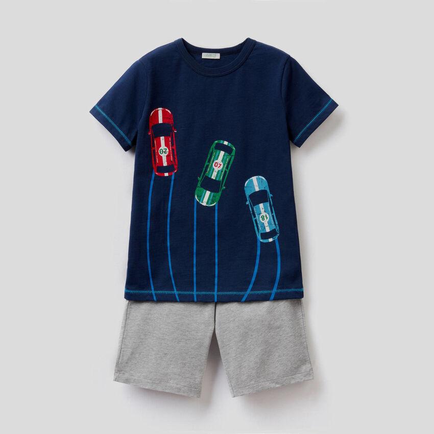 Pyjama mit Bermuda und T-Shirt aus Baumwolle