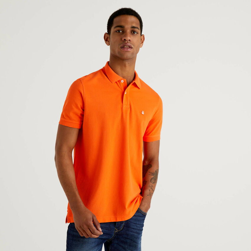 Polo orange coupe regular personnalisable