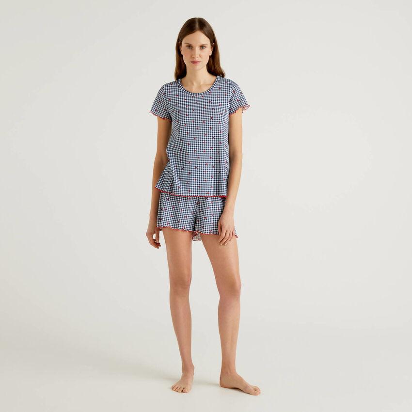 Pyjama à motifs en pur coton