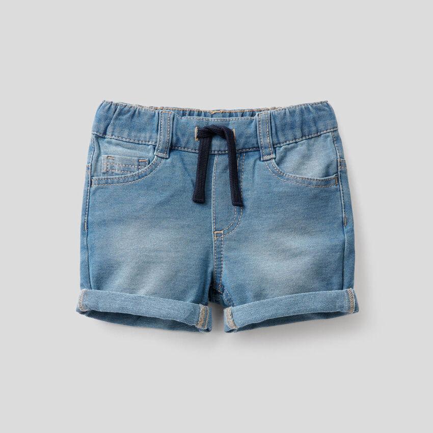Denim look sweat shorts