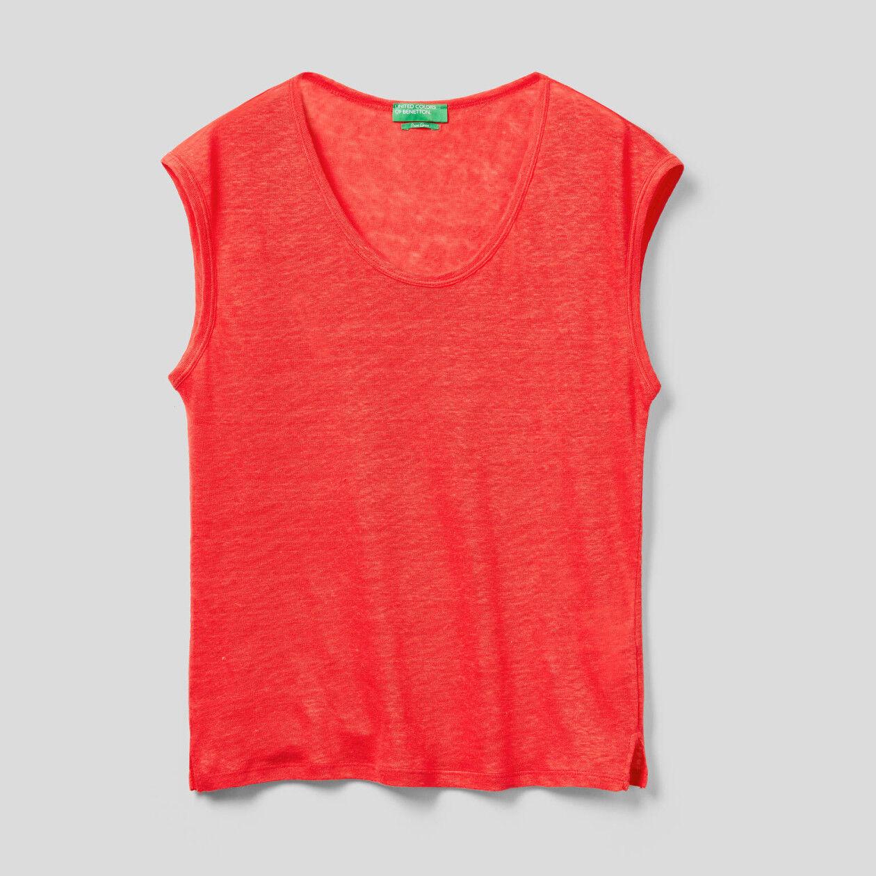 T-Shirt aus Leinen mit kurzen Ärmeln
