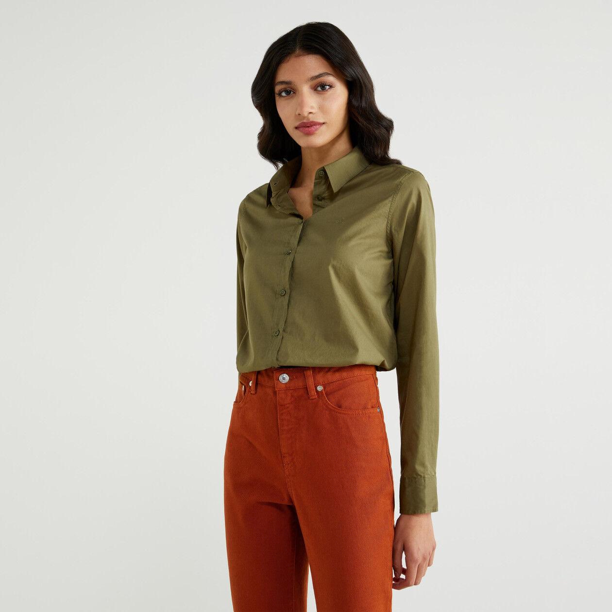 Einfarbige Bluse aus reiner Baumwolle