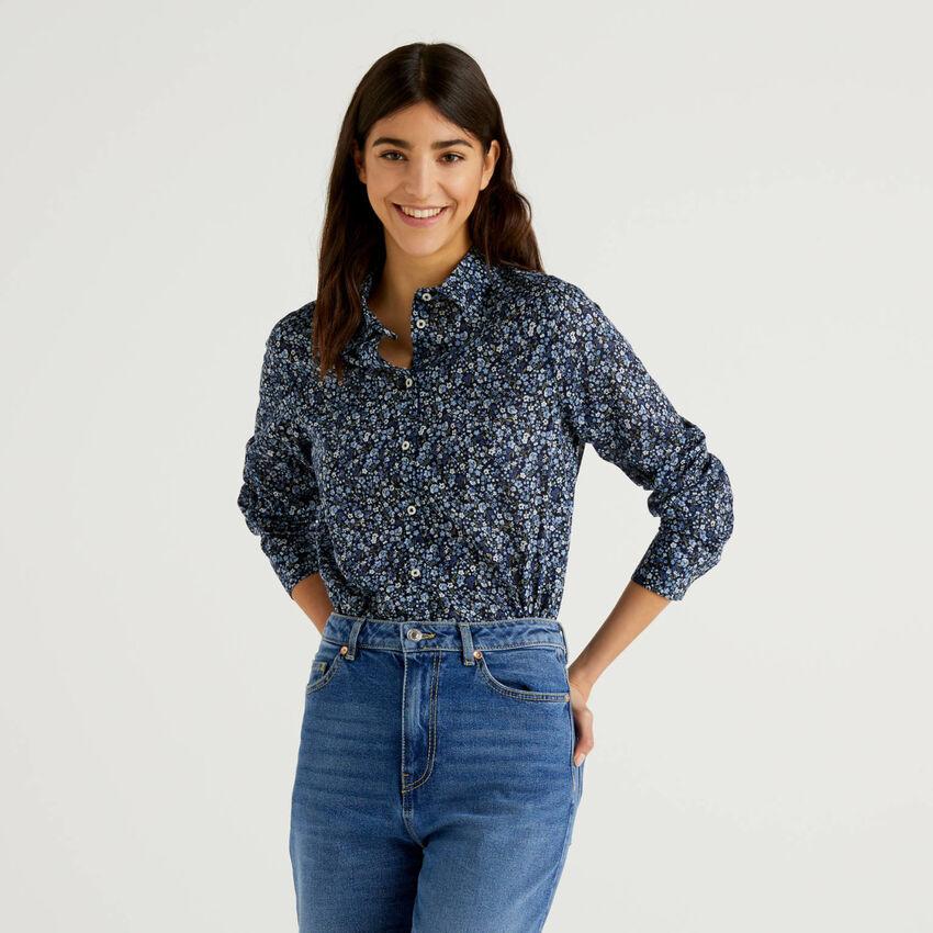 Blaue Bluse in 100% Baumwolle mit floralem Print