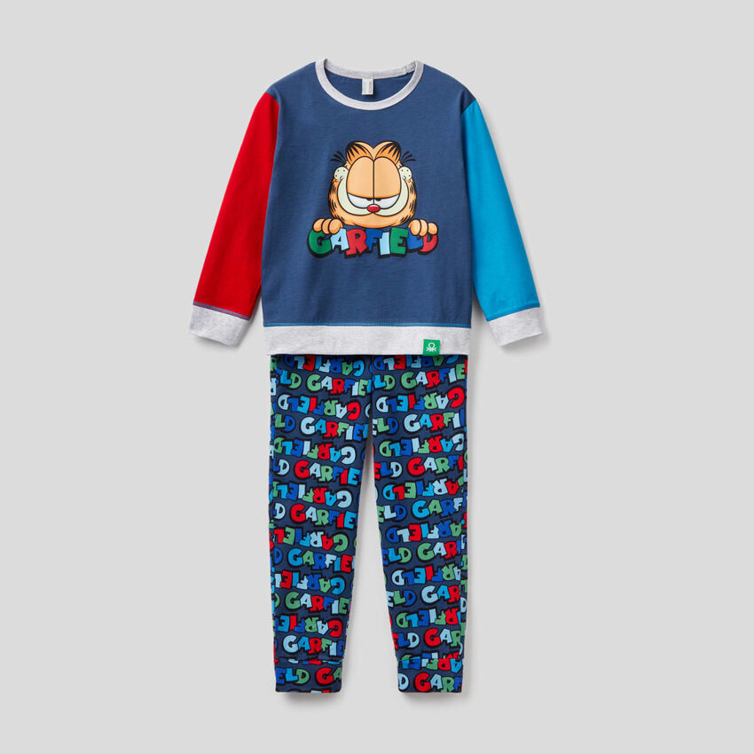 Pyjama mit Farbblöcken und Print Garfield