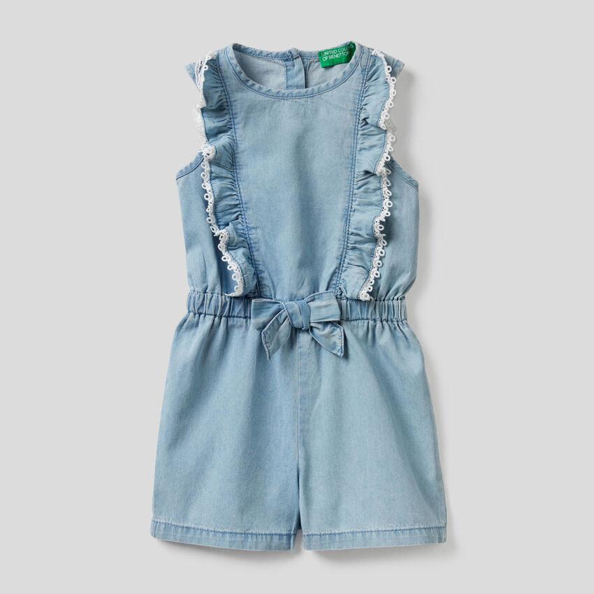Combi-short en jeans léger