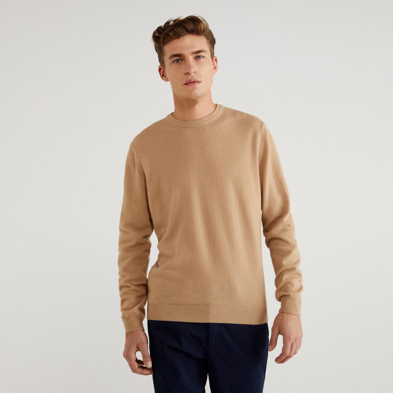 Schurwoll-Pullover mit Rundhals