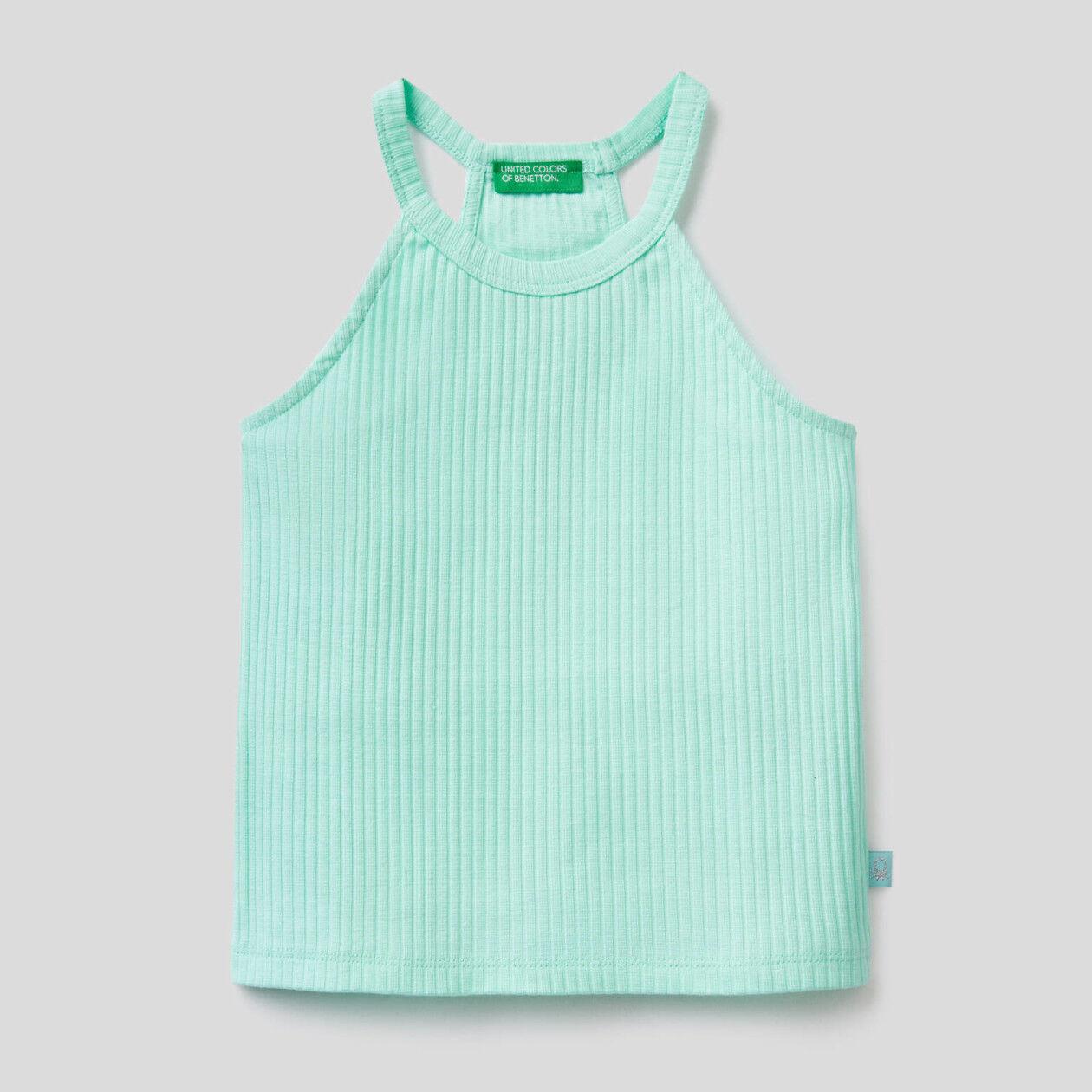 Ärmelloses Top aus stretchiger Baumwolle