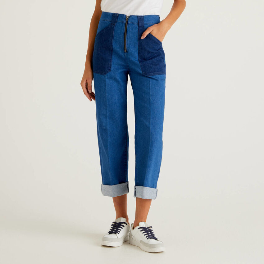 Color block jeans with wide leg