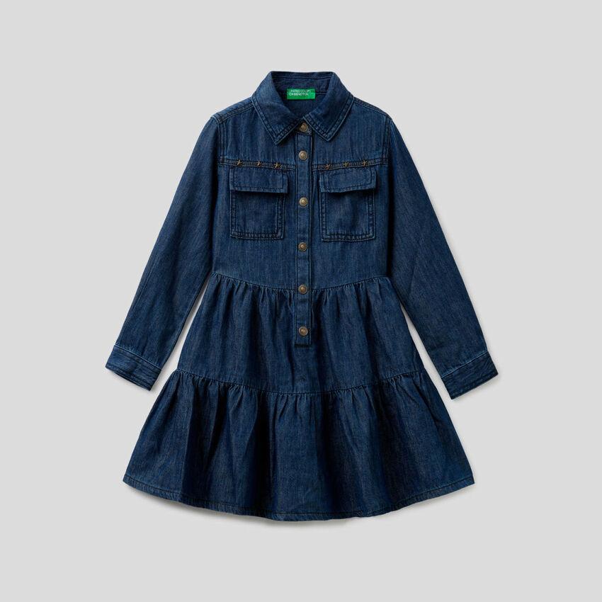 Denim dress with fills
