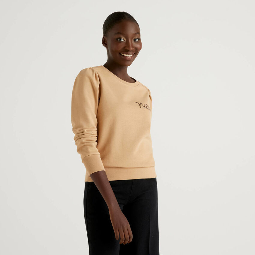 Sweatshirt aus Bio-Baumwolle mit Stickerei
