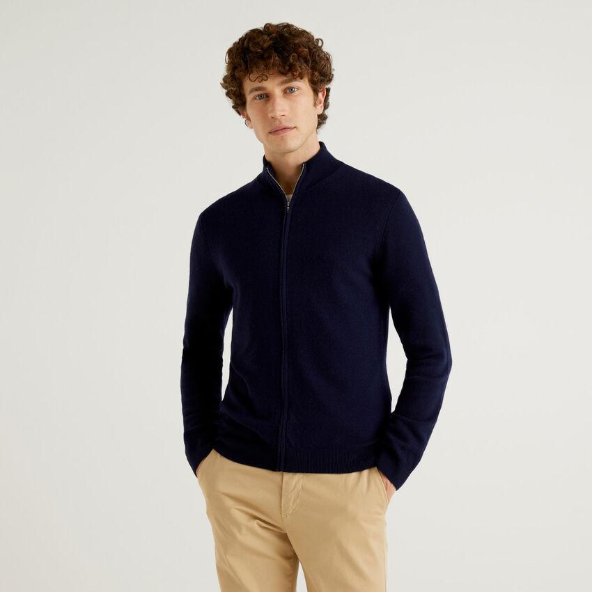 Dark blue zip-up cardigan in pure virgin wool
