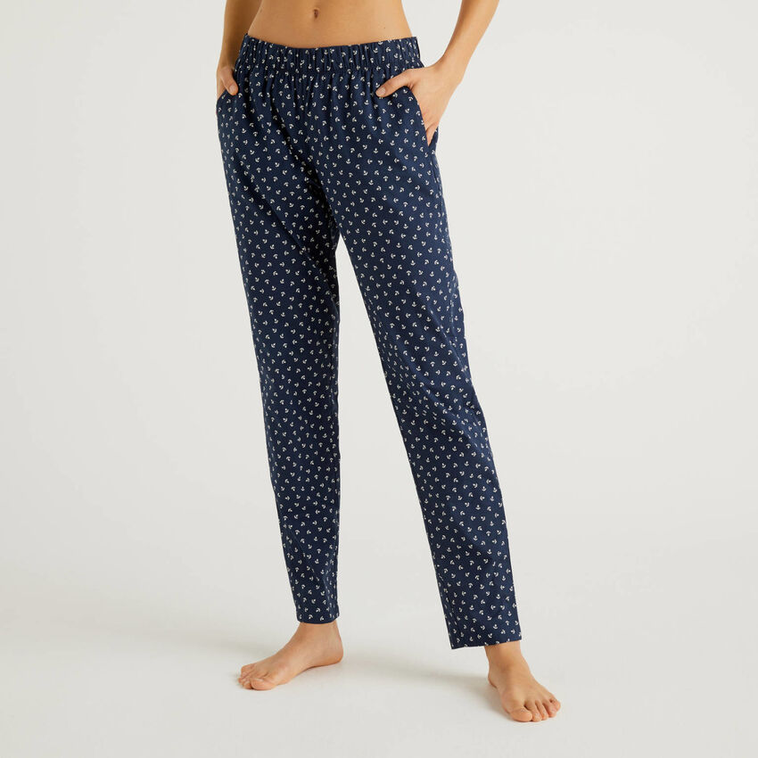 Pantalon à motifs en pur coton