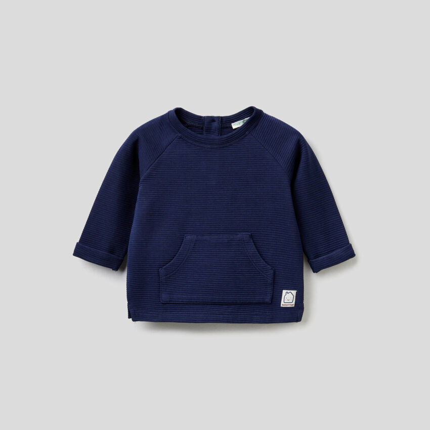 Sweatshirt in stretchiger Bio-Baumwolle