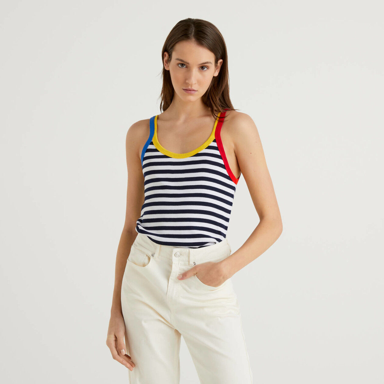 Blue striped tank top with clashing hem